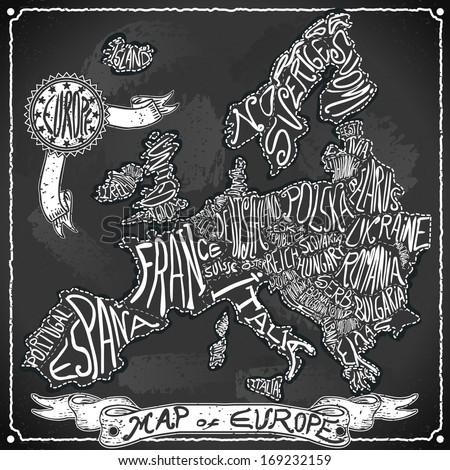 Vintage Europe Map Blackboard. Geographic European Chalk Board Map. Retro Vintage typography Europe. Chalk Handwriting European Map.Vintage Board Background Infographic Illustration - stock vector
