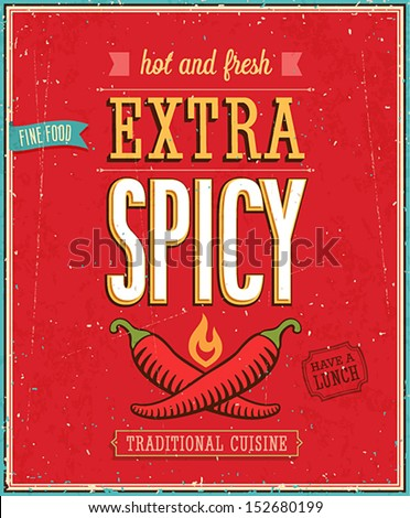 Vintage Extra Spicy Poster. Vector illustration. - stock vector