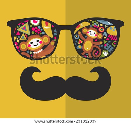 Vintage eyeglasses with reflection. Vector illustration of accessory for hipster - sunglasses isolated. Best print for your t-shirt. - stock vector