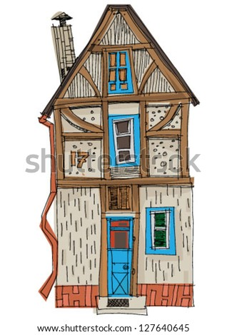 vintage facade - cartoon - stock vector