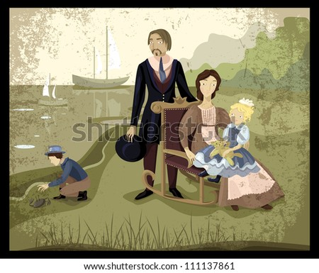 Vintage family portrait. Two young parents with their two children posing on the beach near the sea with boats. Clothes of 19 century. - stock vector