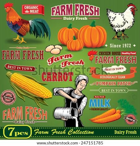 Vintage Farm Fresh poster design element set - stock vector