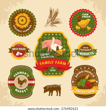 Vintage farm labels vector illustration - stock vector