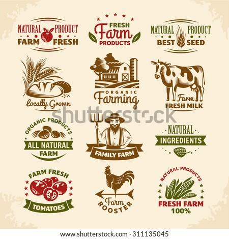 Vintage farm labels vector illustration - stock vector