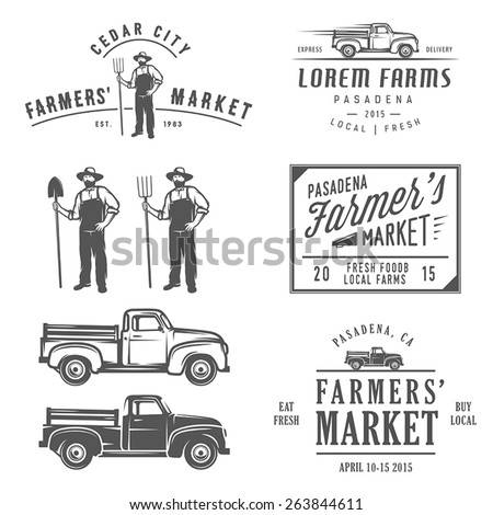 Vintage farming labels, badges and design elements - stock vector