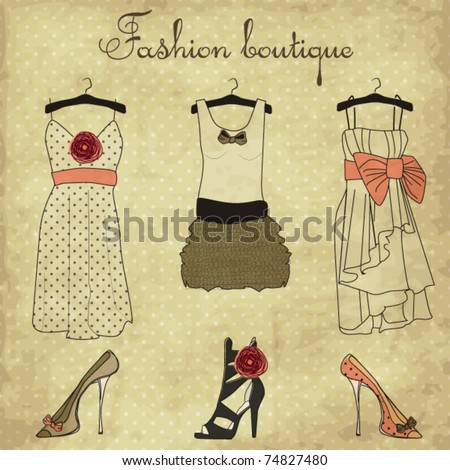 Vintage fashion boutique set, doodles - stock vector