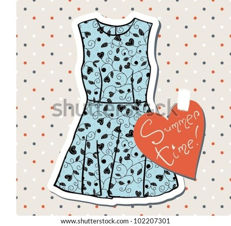 Vintage fashion dress - stock vector