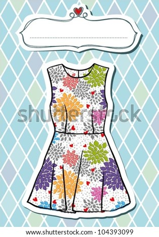 Vintage fashion dress with baroque frame - stock vector
