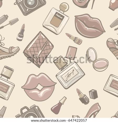 Vintage Fashion Female Seamless Pattern For Boutique Perfume Fall Paper Retro Paris Fashionable Wallpaper