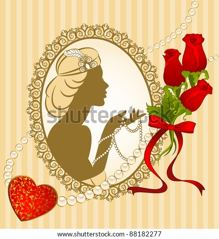 Vintage fashion girl with breads and flowers. Vector