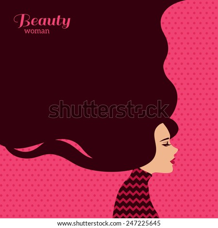 Vintage Fashion Woman with Long Hair. Vector Illustration. Stylish Design for Beauty Salon Flyer or Banner. Girl Silhouette - cosmetics, beauty, health & spa, fashion themes. - stock vector