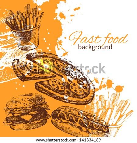 Vintage fast food background. Hand drawn illustration - stock vector