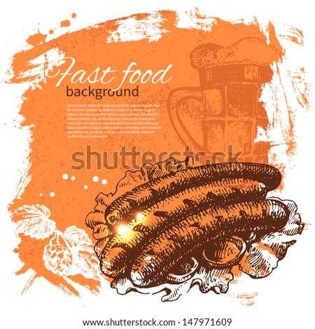 Vintage fast food background. Hand drawn illustration. Menu design - stock vector