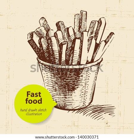 Vintage fast food background with color bubble. Hand drawn illustration - stock vector