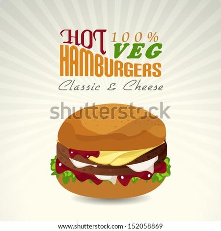 Vintage fast food menu card design with hamburgers.  - stock vector