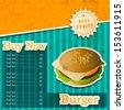 Vintage fast food menu price card design with hamburger.  - stock