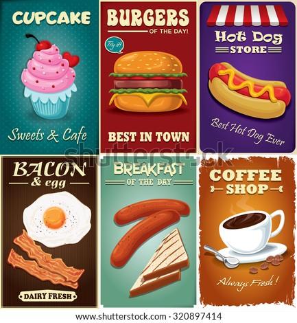 vintage fast food poster design set stock vector 320897414 shutterstock. Black Bedroom Furniture Sets. Home Design Ideas