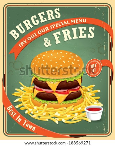 Vintage fast food poster design with burgers & fries - stock vector