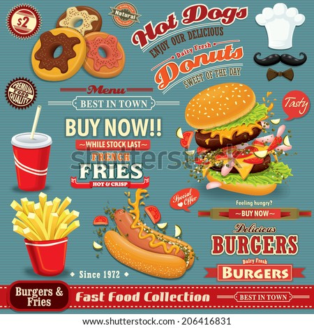 Vintage Fast food poster set design with burgers, fries, hot dog, donuts - stock vector