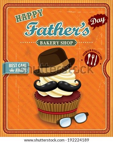 Vintage Father's day cupcake poster design - stock vector
