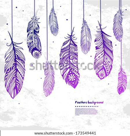 Vintage Feather illustration can be used as a greeting card   - stock vector