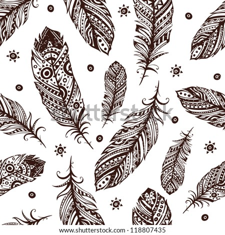 Vintage Feather Pattern For Your Greeting Card Ot Fabric Print Stock