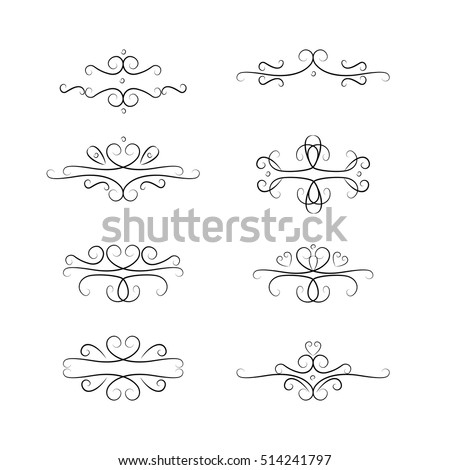 Vintage filigree elements wedding invitation decoration stock vector wedding invitation decoration collection filigree swirls ornamental wedding vintage swirl stopboris Image collections