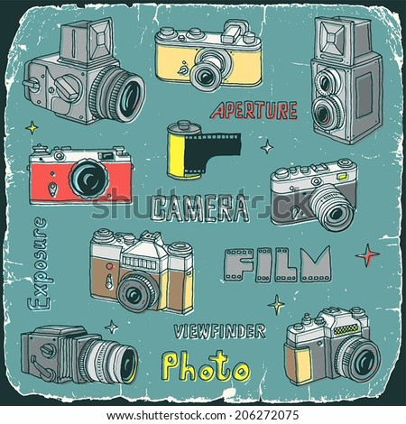 Vintage film cameras doodle set print on old carton card. Hand drawn. Vector illustration. - stock vector