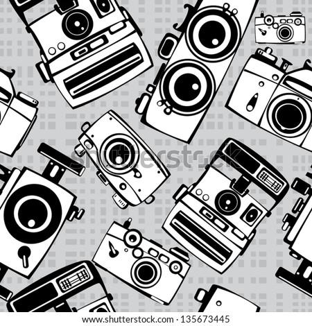 vintage film photo cameras vector seamless pattern - stock vector