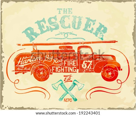 vintage fire-fighting label - stock vector