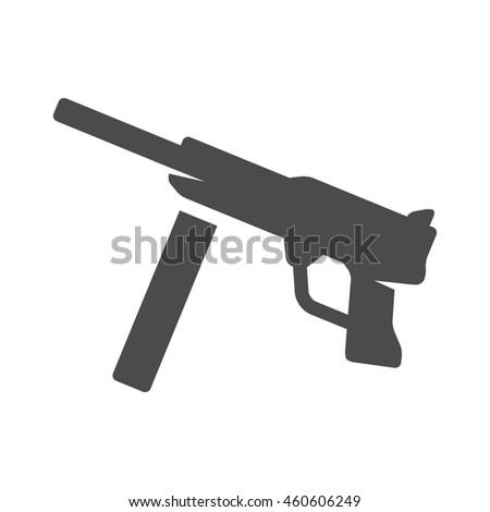 Vintage firearm icons in single color. World war army hand gun. - stock vector
