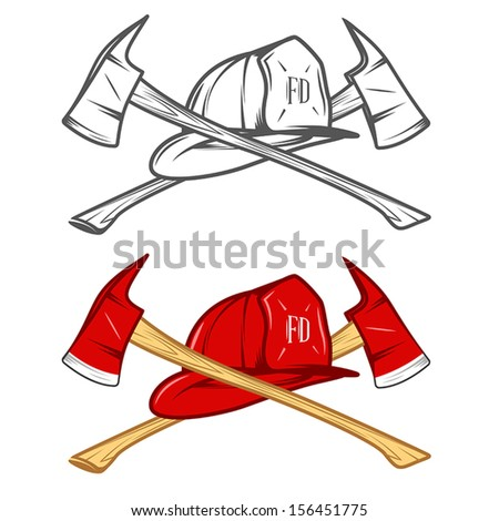 Vintage firefighter helm with crossed axes - stock vector