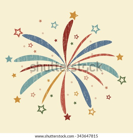 Vintage Firework with red, blue and yellow stars, grunge design, star burst, holiday explosion  - stock vector
