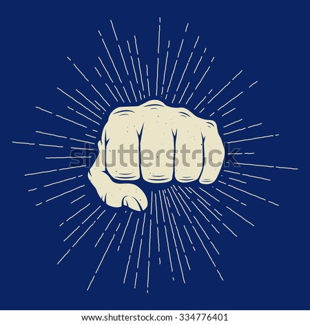 Vintage fist with sunbursts in retro style. Can be used for logo, emblem, badge, label and watermark. Vector illustration  - stock vector