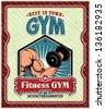 Vintage Fitness Club, GYM, poster design - stock