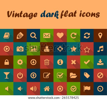 Vintage flat buttons, icons with long shadows. Big retro vector set  for mobile or web  - stock vector