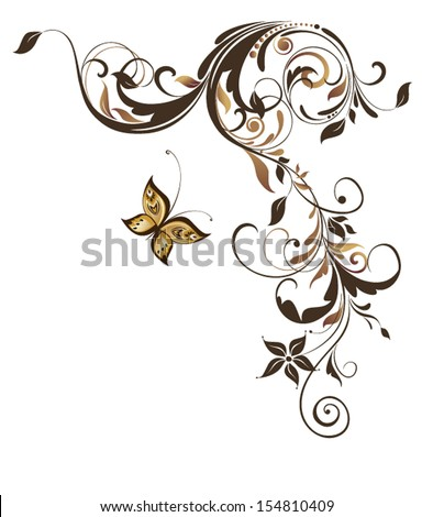 Vintage floral adornment - stock vector