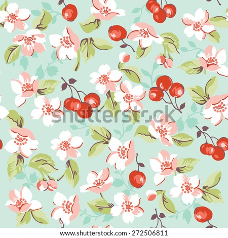 Vintage Floral and Cherry Background - seamless pattern - in vector - stock vector