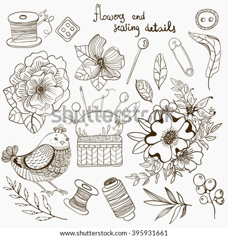 Vintage floral and sewing details, accessories collection,doodle illustration, Vector - stock vector