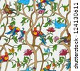 Vintage floral background, birds and flowers, fashion seamless pattern, colorful vector wallpaper, vintage, rich, graphic wrapping, leaf, trees ornament, oldest style swatch fabric, artistic decor - stock vector