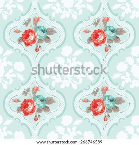 Vintage Floral Background - Seamless Rose Flowers Pattern - in vector - stock vector