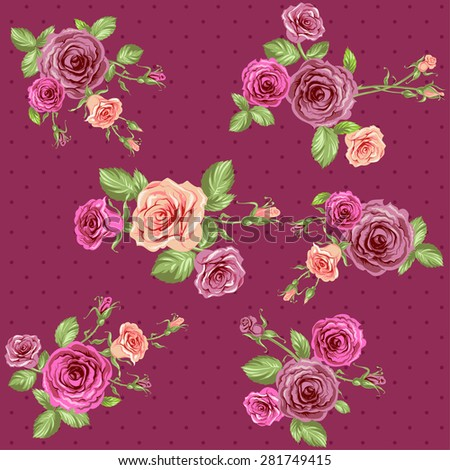 Vintage floral background. Seamless roses pattern. - stock vector