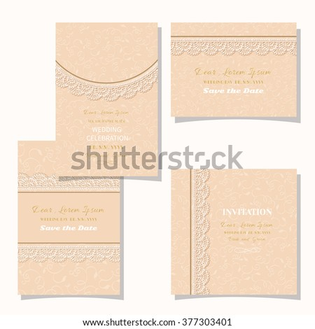 Vintage floral background.Set wedding card or invitation border openwork pattern with lace