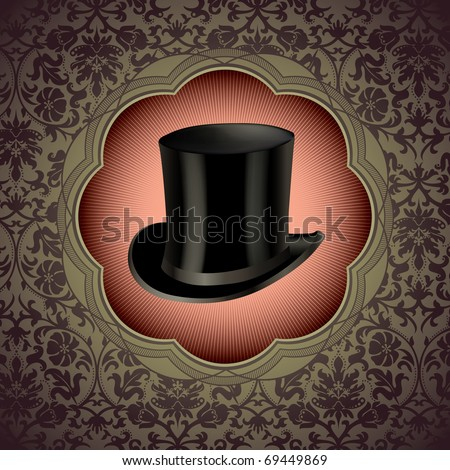 Vintage floral background with top hat. Vector illustration. - stock vector