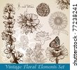 vintage floral backgrounds set - vector illustration - stock vector