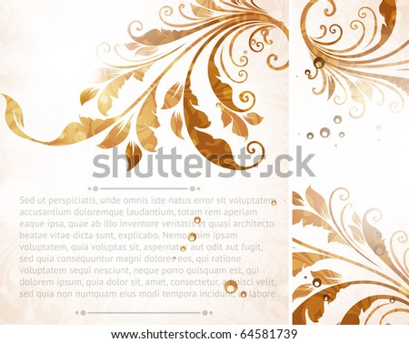 Vintage floral border with leafs and flowers for retro design - stock vector