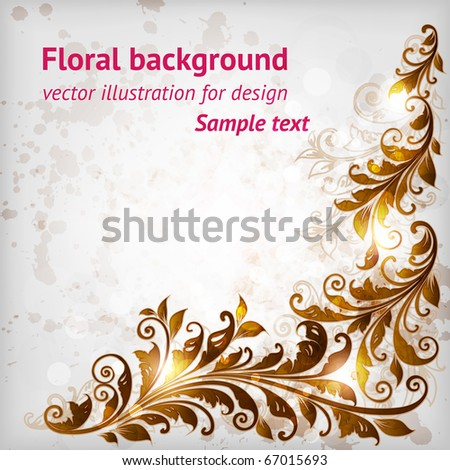 Vintage floral border with leafs and flowers for retro design