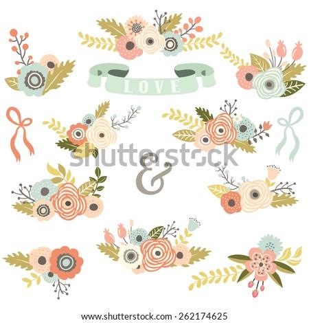 Vintage Floral Bouquet Set - stock vector