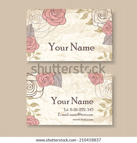 Vintage floral business card template roses stock vector 210418837 vintage floral business card template with roses wajeb Images