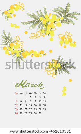 Vintage floral calendar 2017 with the names of the months written in calligraphy watercolor. Vector illustration.
